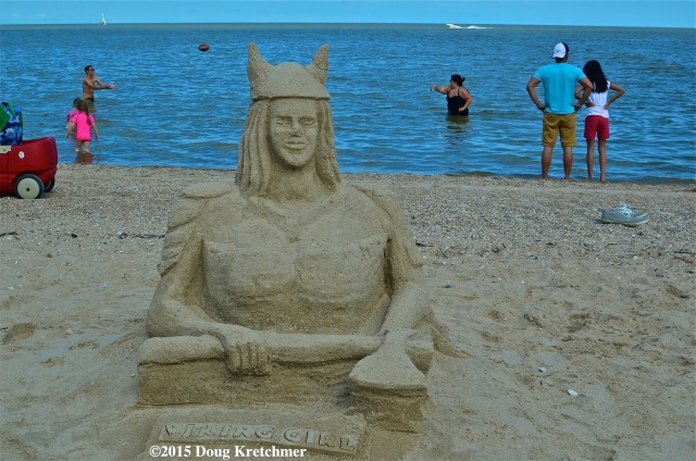 One of the many sand castles on the beach in Gimli at the 126th Annual Icelandic Festival (Islendingadagurinn). The festival continues Sunday and ends Monday, starting at 8am each day. (icelandicfestival.com) PHOTO by Doug Kretchmer