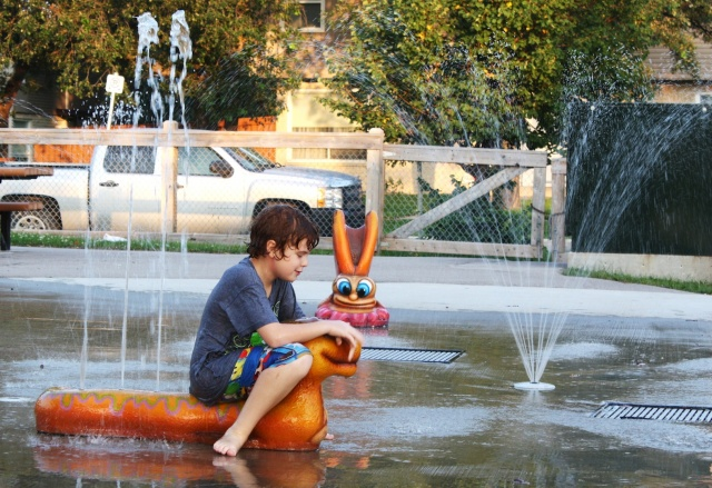 Enjoying the last days of summer at the splash pad. PHOTO by Suzanne Hunter