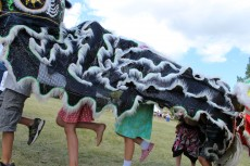Kids having fun in the park with dragon costume.<br /><em>Submitted by Bee Erenberg</em>