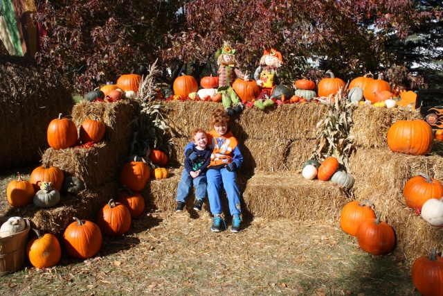 Fall fun - surrounded by pumpkins at Schwabe Pumpkins, 2728 Henderson Hwy. PHOTO by Suzanne Hunter