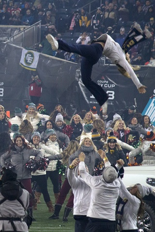 Winnipeg Blue Bombers cheerleaders performing at the 103rd Grey Cup. PHOTO by Allison Stevens