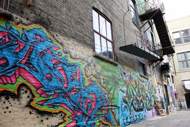But is it art? Downtown alley with a coat of many colours. PHOTO by Greg Petzold