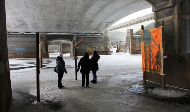 "Winnipeg's newest and ""coolest"" gallery: on the Red River ice under the Norwood Bridge. PHOTO by Greg Petzold"