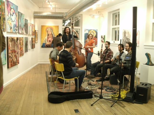 Bart House Band played during opening reception of 'Crossroads Group 24 Seven' at Artbeat Studio, 4th floor, 62 Albert St. The 24th bi-annual exhibition runs until Jan. 28. Hours are 12-5 p.m., Tue-Fri, and 12-3 p.m. Sat. PHOTO by Anne Hawe
