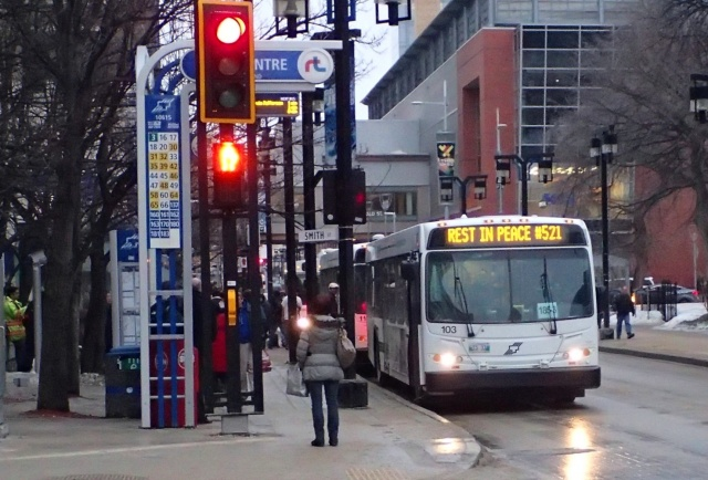 Stop and think: all city buses pulled over at 1 p.m. yesterday for a moment of silence in honour of slain transit driver, Jubal Fraser. PHOTO by Greg Petzold