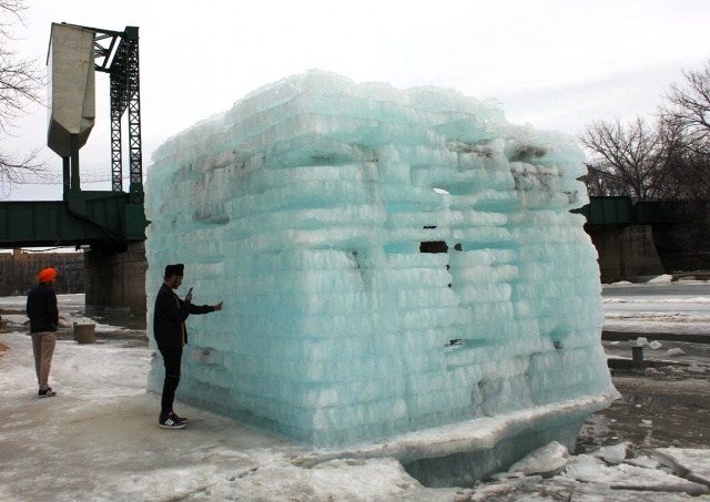 "Irony: built to last at The Forks, the final ""warming hut"" standing is made of ice. PHOTO by Greg Petzold"