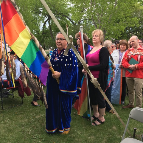 Dignitaries and dancers line up for the grand entry of the first Two Spirit Pow Wow held on May 26 at The Forks, as a part of the annual Pride Winnipeg activities. PHOTO by Melanie Ferris