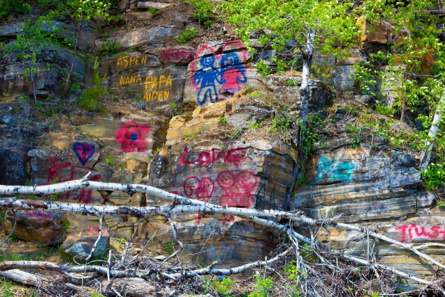 Graffiti on rocks across from the Lily Pond in the Whiteshell. PHOTO by Marie LeBlanc