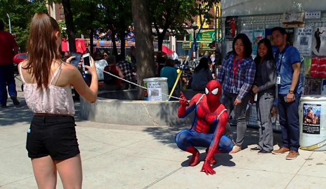 You know its Fringe season.....when you run into Spiderman on your lunch hour. PHOTO by Greg Petzold