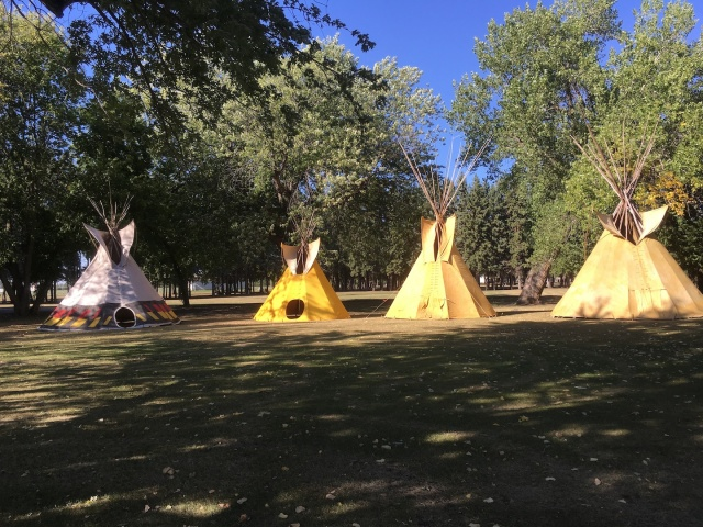 Tipis on front yard of the old Portage Residential School, on west side of Portage la Prairie, located on one of Long Plain First Nation's urban reserves. PHOTO by Melanie Ferris