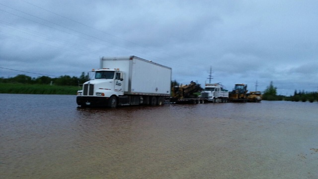 Water inundates roads in Moosehorn, MB<br /><em>Submitted by Marie LeBlanc</em>
