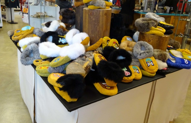 Cozy footwear for sale at Neechi Commons <br /><em> by Gloria Romaniuk </em>