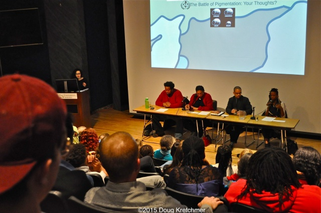 As part of Black History Month, after screening the film Dear White People, there was a discussion on racism and racial issues at UofW last night. (l-r Organizer Alexa Potoshnik, Bubba B, Kemlin Nembhard, Paul Lawrie and Tina Opakele.) <br /><em>by Doug Kretchmer</em>