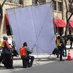 Behind the scenes: shooting the latest Hallmark Christmas movie in March on Bannatyne. PHOTO by Greg Petzold