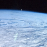 Orbiting moon on horizon.<br /><em>Tweeted by Chris Hadfield @Cmdr_Hadfield</em>