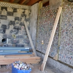 Recycled tire, can and bottle wall at Manitoba Earthship, Clandeboye<br /><em>Submitted by Gloria Romaniuk</em>