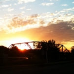 Sunrise over south Headingley train bridge.<br /><em>Submitted by Denise Campbell</em>