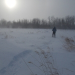 Snowshoe across snowy windswept field.<br /><em>Submitted by Paul Nielsen</em>