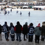 Winnipeg Jets on The Forks ice with kids team.<br /><em>Submitted by Greg Petzold</em>