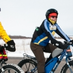 Dave Bell and Kim Mitchell enjoy a March bike ride at Grand Beach.<br /><em>Submitted by Gregory McNeill</em>