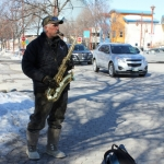 One tough busker in the cold at The Forks.<br /><em>Submitted by Greg Petzold</em>